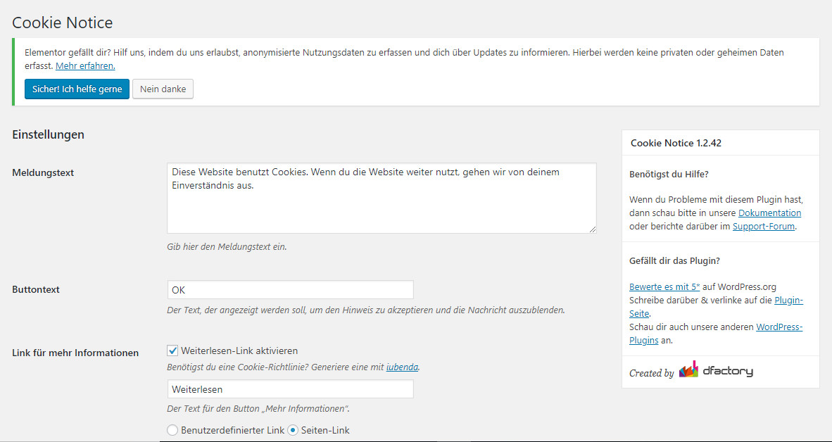 Das Plugin von cookie-notice